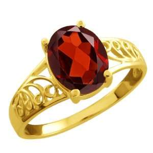 2.00 Ct Oval Red Garnet 14k Yellow Gold Ring Jewelry