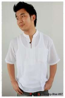 MENS CASUAL COTTON SHIRT MANDARIN COLLAR WHITE M   L
