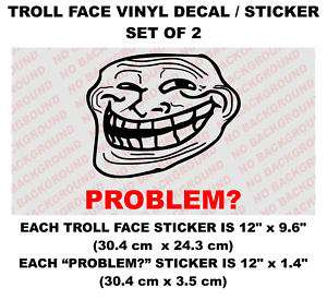 Troll face set of 2 big Decals sticker meme rage 4chan