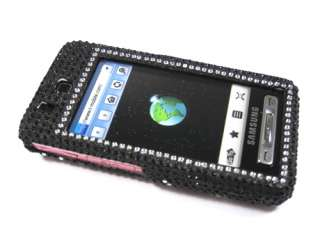 BLACK SILVER VINE DIAMOND BLING CRYSTAL FACEPLATE CASE COVER SAMSUNG