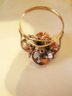Art Deco Belgian 14k Gold Diamond Emerald Ring