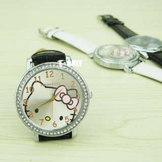Fashion Cute helloKitty Crystal Girls Quartz Wrist Watch Lovely