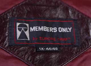 VTG MEMBERS ONLY SOFT LEATHER CAFE RACER JACKET sz XL |