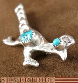 Navajo Indian Sterling Silver Turquoise Roadrunner Pin