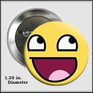 Internet Meme Smiley Face Button Pin 1.25 inches in