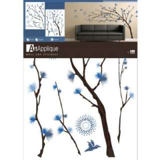 Tree Branches Blue Flowers Wall Mural Decal Sticker