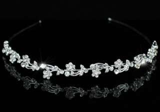 Bridal Flowers Clear Rhinestone Headband Tiara T1081