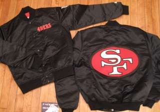 49ERS SATIN JACKET by STARTER sz S snapback hat kings raiders