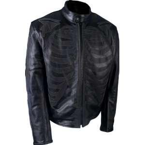 Hot Leathers Black Medium Leather Jacket with Reflective