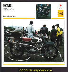 1962 HONDA 125 TWIN CS 92 Motorcycle ATLAS PICTURE CARD