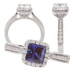 18k cultured 5.5mm princess cut blue sapphire engagement