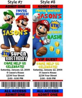 Super Mario Birthday Party Ticket Invitations Favors