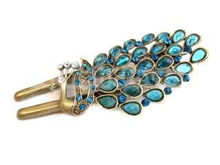 Aqua Blue Swarovski Crystal Peacock Barrette Hair Clip Claw 142