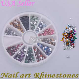 1800 Pcs 2.0mm Heart Shape Nail Art Rhinestones Glitters Wheel