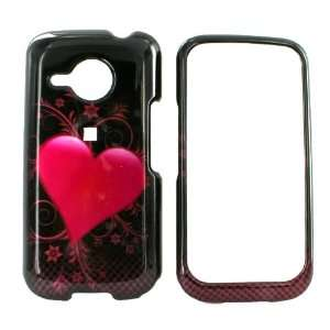 HTC Droid Eris Hard Case Pink Heart Black & PRY TOOL
