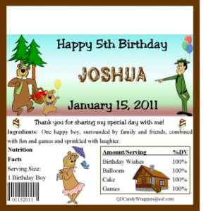Yogi Bear Candy Wrappers/Birthday Party Supplies