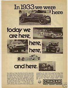RARE 1973 Crager Ad / 1933 Indy Race Car