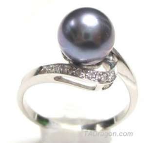 5mm AAA Black Pearl 2.10g 14K White Gold Diamond Ring