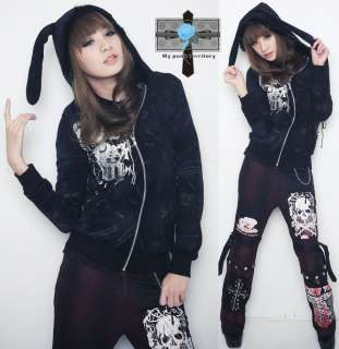 Harajuku Visual Kei Mohair Bunny Ear Rock Emo Jacket