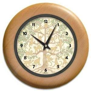 Monkey Business Round Wood Wall Clock