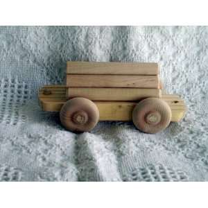 WOODEN TOY TRAIN LOG CAR  L Everything Else