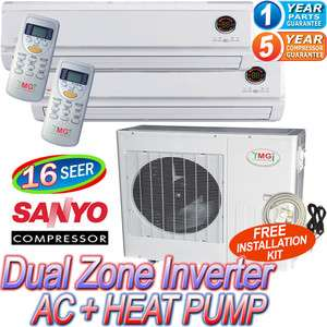 Air Conditioner AC Heat Pump, 21000 BTU Dual Zone A/C Heater