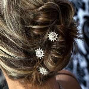 Elegant Crystal 2 Layers Flower Pattern Hair Pins Sticks [PACK OF 6