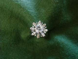 14 K WHITE GOLD STARBURST DIAMOND RING