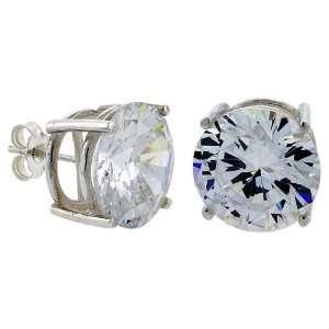 Brilliant Cut Cubic Zirconia Stud Earrings in Basket Settings Jewelry
