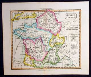 Souter Antique Map of Ancient Gaul & Belgica   France & Belgium