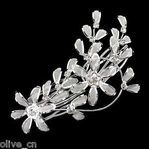 Long White Flower Wedding & Party Crystal Hairclip