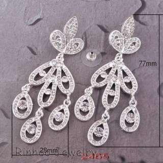 White Chandelier Full Rhinestone Crystal Earrings 29420