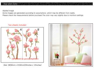 Flower Tree Removable Wall Decal Sticker two sheets WST16