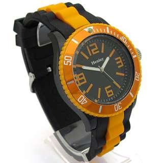 Mens Ladies BIG Watch Silicone strap Orange & White 296 Unisex