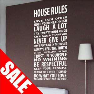 Large Family Love House Wall Quotes / Wall Stickers/ Wall Decals