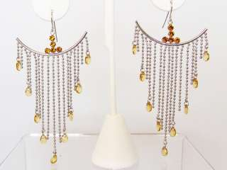 GOLD CRYSTAL BEAD DROP SILVER FRENCH WIRE EARRINGS NEW