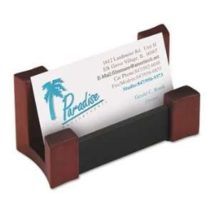 81766   Wood/Leather Business Card Holder, Capacity 50 2 1/4 x 4 Cards