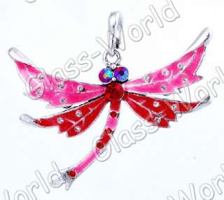 6pc Dragonfly Enamel&White Gold Plated 45*61MM Pendants