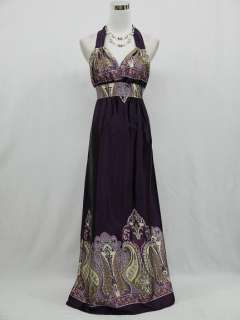 Cherlone Dark Purple Long Summer Halter Maxi Evening Dress UK Size 12
