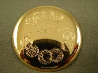 FANCY GOLD TONE BULOVA CARAVELLE HUNTER POCKET WATCH VINTAGE 1972 SIDE