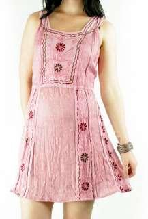 vtg 90s S/M Pink Embroidered Boho Hippie Mini Dress India Grunge