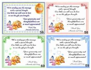PERSONALIZED POOH BABY SHOWER THANK YOU CARDS w/ ENV