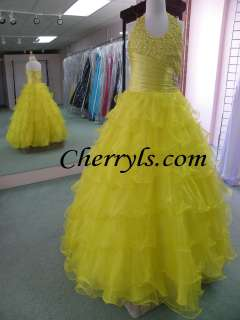 TIFFANY GLITZ 33409 Lemon Size 10 GIRLS NATIONAL PAGEANT DRESS WINNING