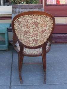 Old Antique Rose Carved Solid Wood Upholstered Sewing Rocking Chair