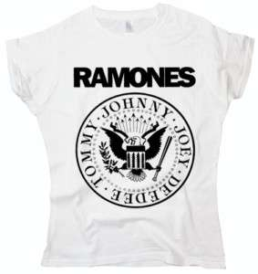Ramones Logo Punk rock indie band NYC white t shirt