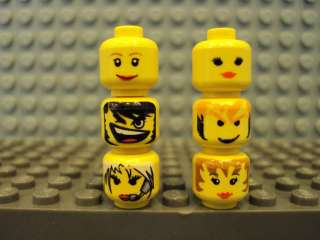Lego Minifig ~ Lot Of 6 Female Heads Faces Girl Parts #ydfga Town City