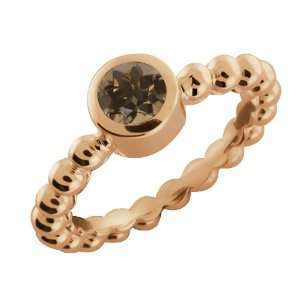 0.46 Ct Round Brown Smoky Quartz 18k Rose Gold Ring Jewelry
