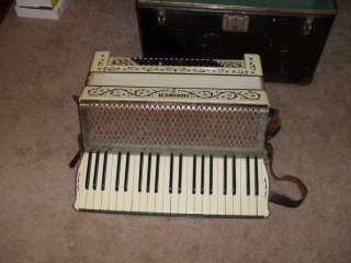 Antique 1920s HOHNER Accordion White 41 Keys 80 Buttons with Case