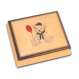 Teddy Bear with Red Balloon Adorable Beige Music Box