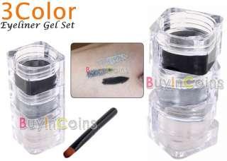 Color Waterproof Eyeliner Eye Liner Gel Set + Brush